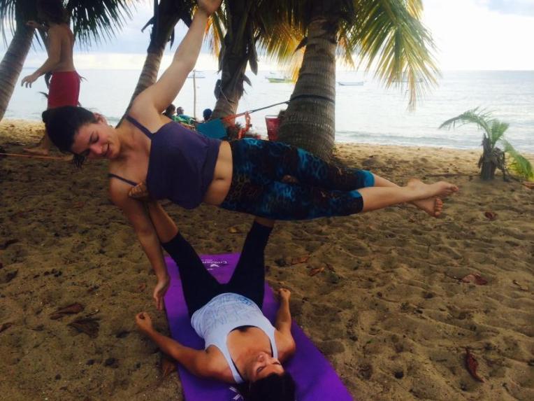 Acroyoga on the beach Rincon, Puerto Rico